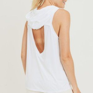 Hoodie Muscle Active Tank with Cut-Out Back